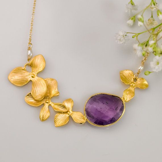 Long Pendant Necklace Cascading Necklace Flower Necklace Amethyst Necklace February Birthstone Necklace Personalized Necklace