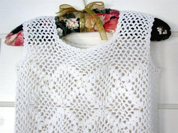 Vintage de encaje blanco de ganchillo mini vestido, vestido de encaje de boho, vestido de Novia de la mano de ganchillo