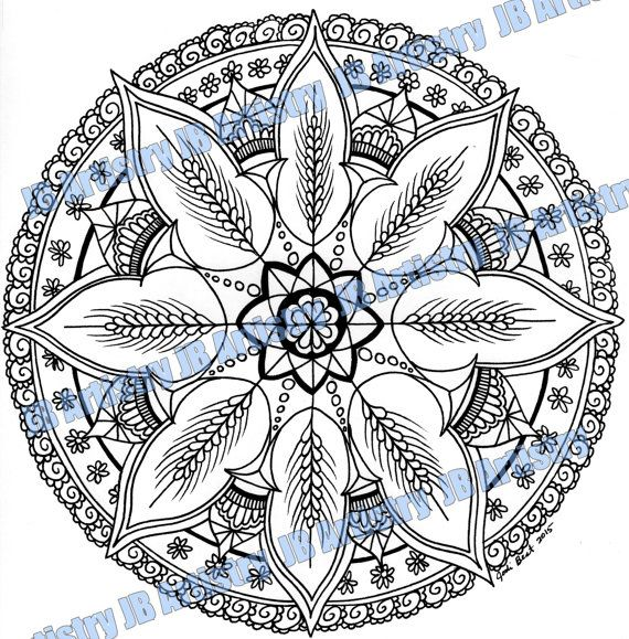 Zentangle Mandala Coloring Page Wheat Mandala 4 By Jbartistryshop