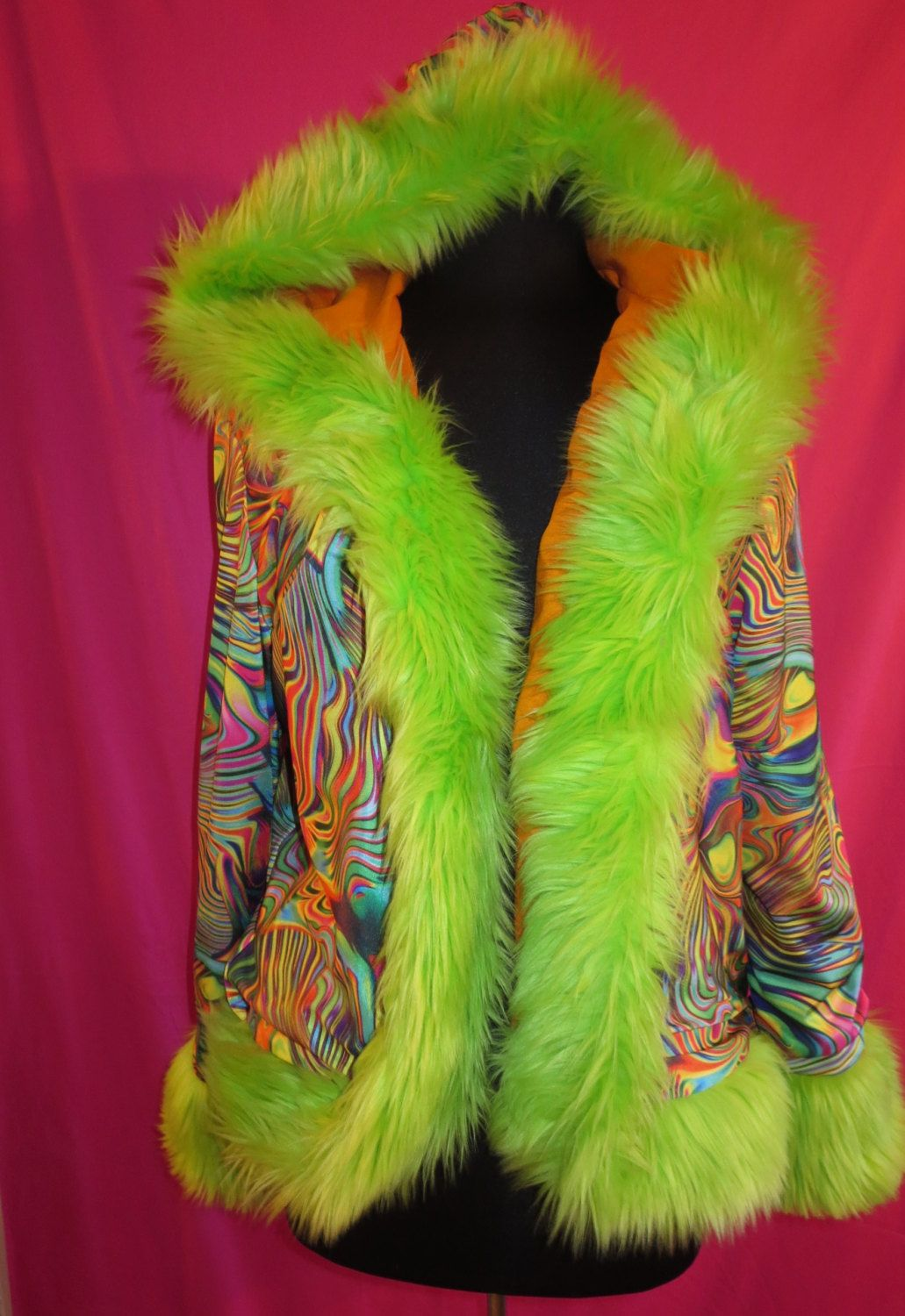 Psychedelic, Abstract, Colorful Hooded Jacket With Lime Green Fur Trim Unisex Burning Man Wear by outoftheloftclothing on Etsy