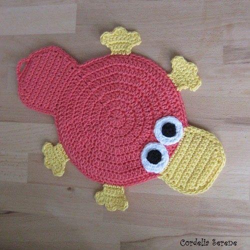 platypus potholder ~ free pattern | Crochet Pot Holders | Pinterest ...