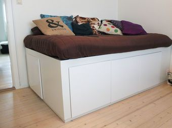 Bed with lots of storage made from simple IKEA cabinets!