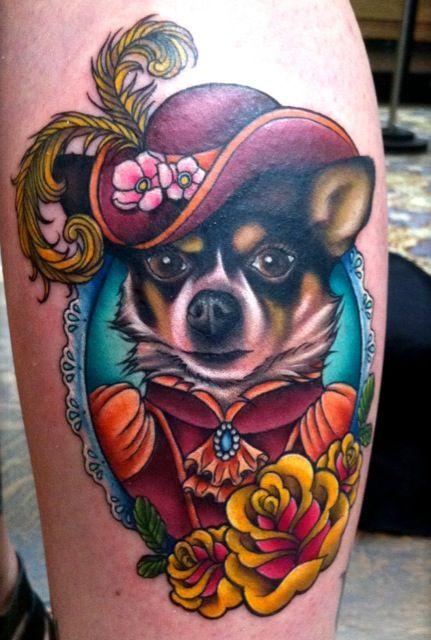 13b7a0198 by Megan Massacre.   tattoo   Dog tattoos, Chihuahua tattoo, Animal ...
