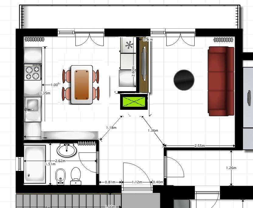 Risultati immagini per planimetria 25 mq open space con ...