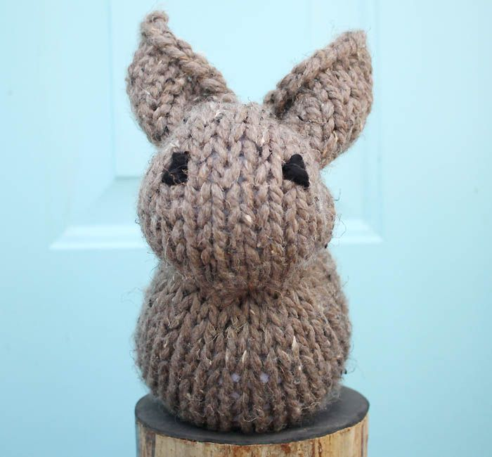 One Square Stuffed Bunny beginner knitting pattern | Baby Knitting ...