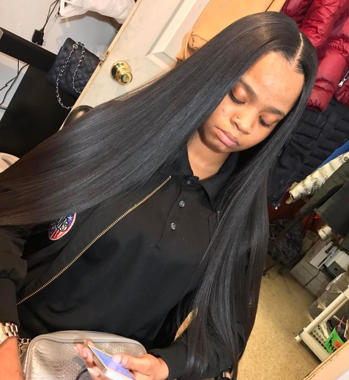 Middle Parts Follow Me For More Hair Styles Straight Hairstyles Remy Human Hair Extensions
