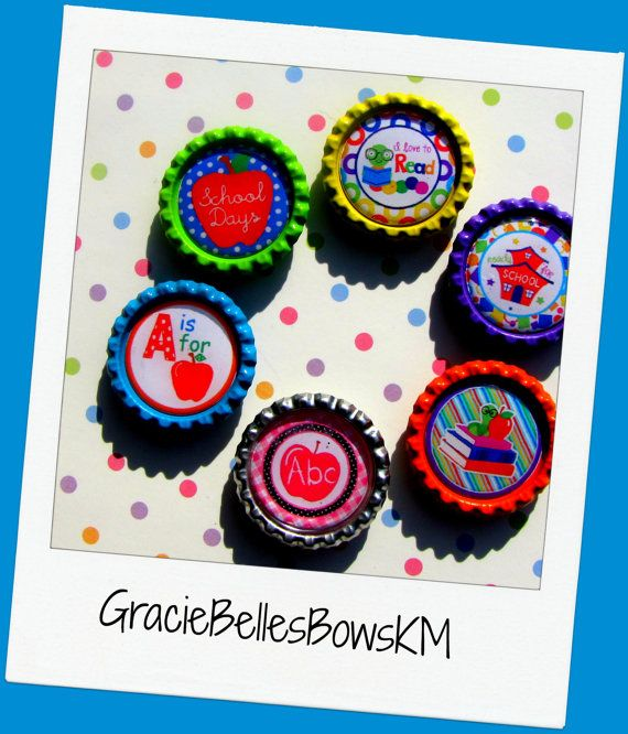 School Magnet Set  Set of 6  Gift For by GracieBellesBowsKM, $6.00