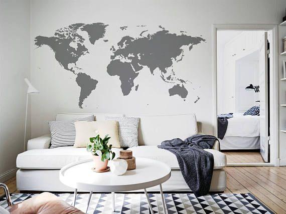 Monde Gris Carte Murale Sticker Maison Bureau Sticker Mural Enfant
