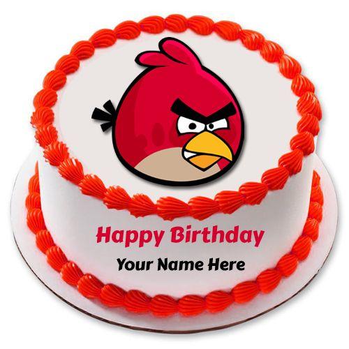 Write Name On Beautiful Birthday Wishes Elegant Cake Angry Birds