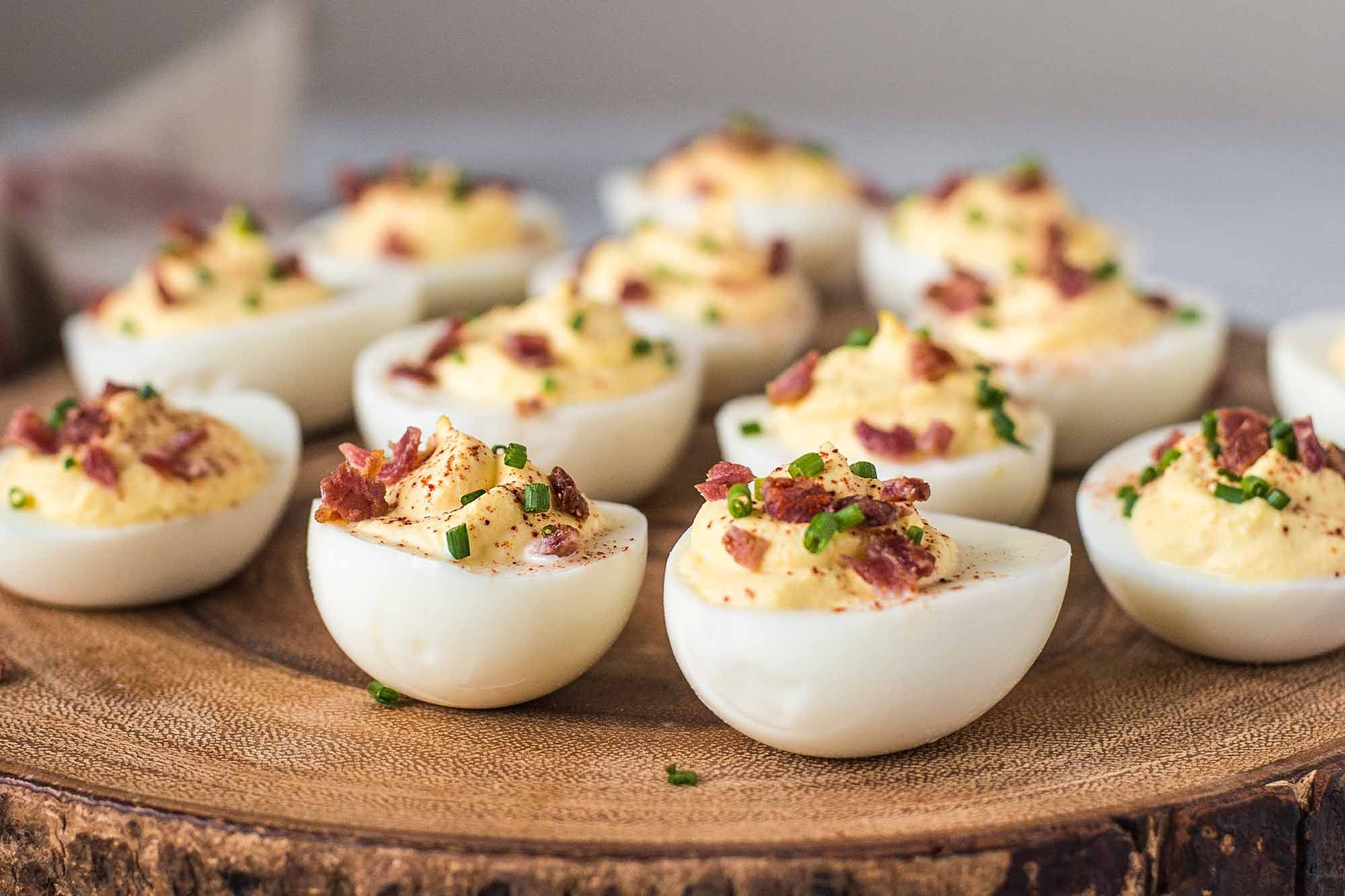 Sour Cream And Bacon Deviled Eggs Recipe Food In 2019 Deviled Eggs Recipe Deviled Eggs Bacon Deviled Eggs