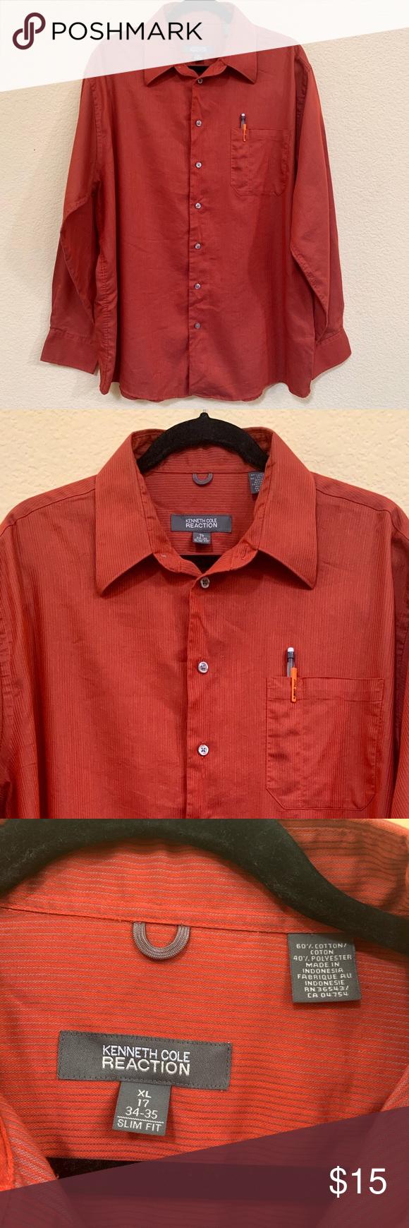 Kenneth Cole Shirt Xl 17 Slim Fit Red Orange Slim Fit Kenneth Cole Mens Shirt Dress [ 1740 x 580 Pixel ]