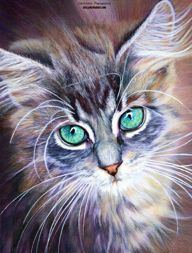 Green eye cat painting