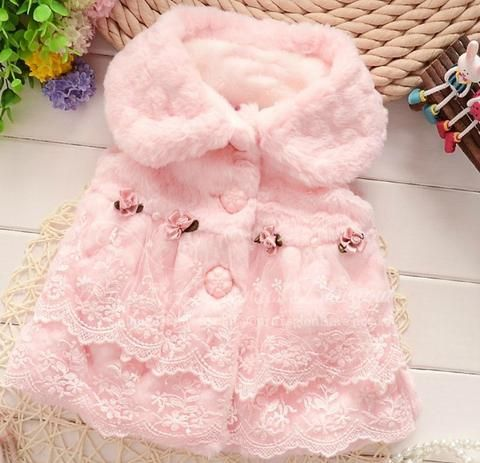 596f7dc9 Gorgeous Pink Faux Fur and Lace Girls Trendy Vests - Baby Vest ...