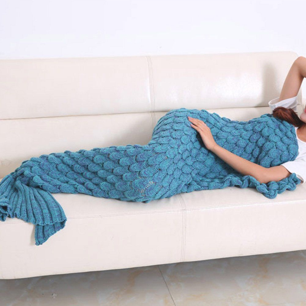 Amazon.com: Yowao Mermaid Tail Blanket Adult Handmade Knitted Fish ...