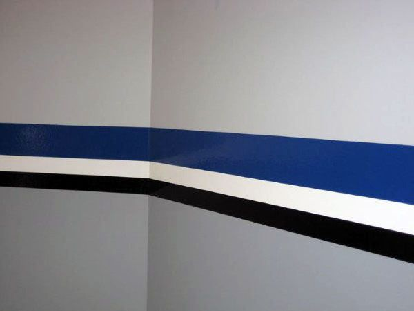 garage wall paintBlue White And Black Stripped Design Garage Wall Paint  Cars