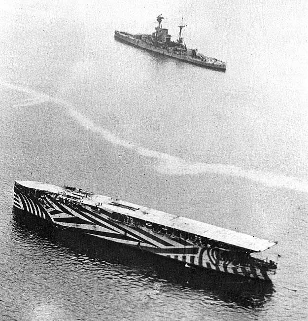 Argus in camouflage, circa late 1918, photo 2 of 3 (R-class battleship sailed near by)