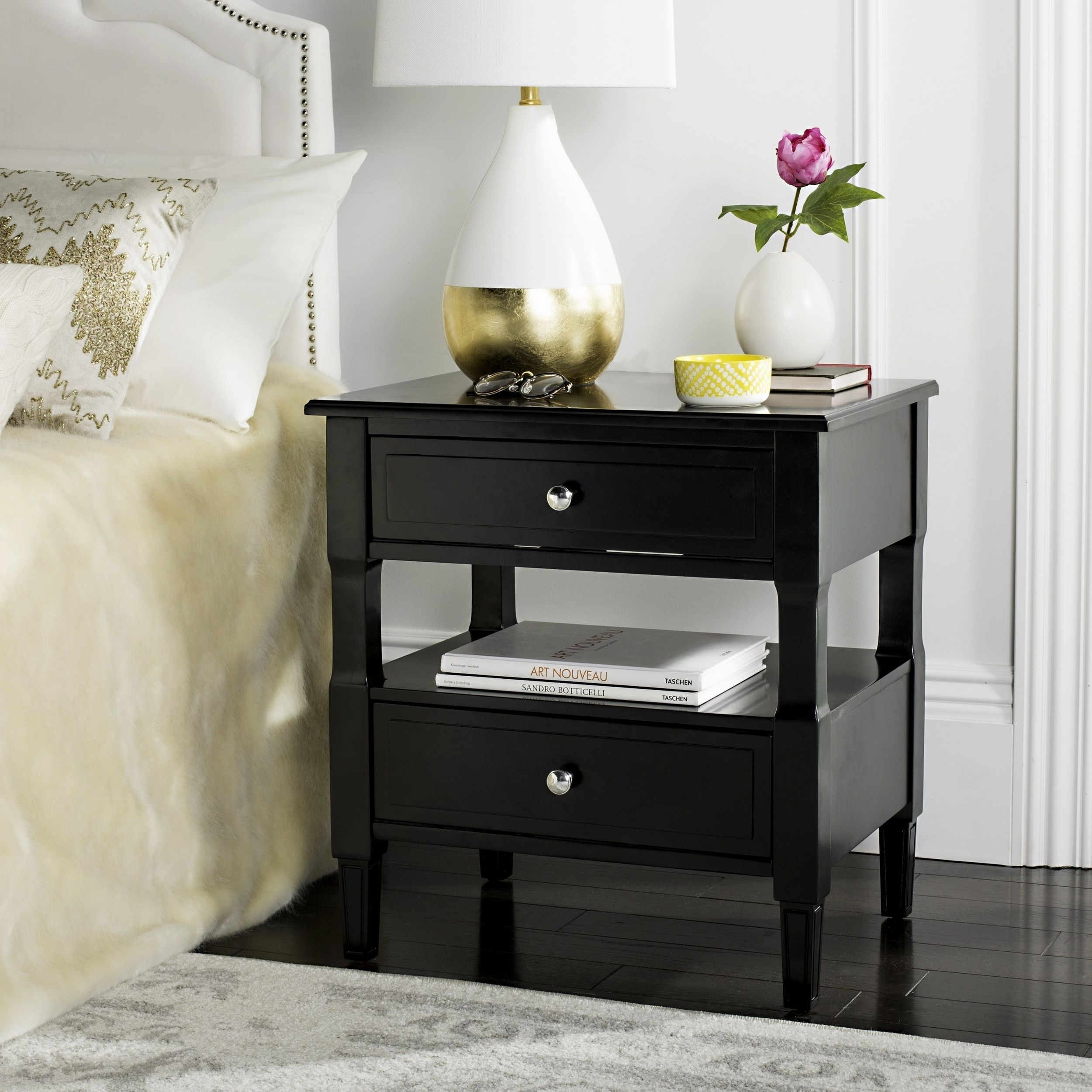 Safavieh Jenson Two Drawer Black / Black Night Stand (FOX6277B), Size  2 Drawer (Iron)