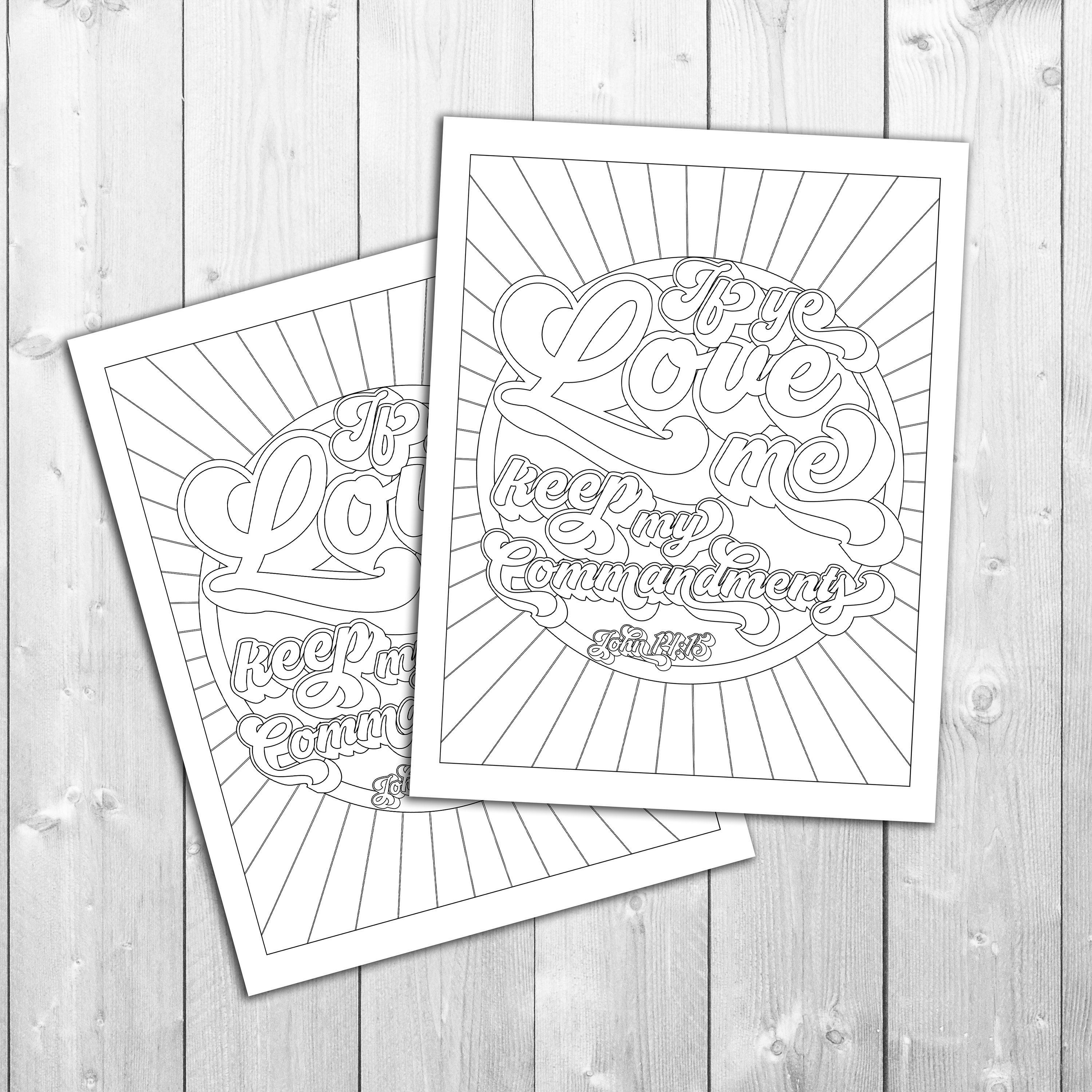2019 Youth Theme If Ye Love Me Keep My Commandments Coloring Page Vector File Svg Mormon Lds Lesson Handout Young Youth Theme If Ye Love Me Coloring Pages
