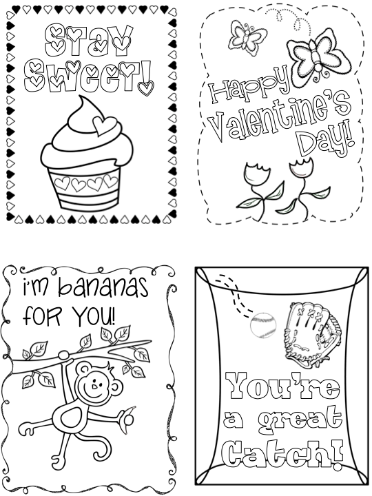 Valentine S Day Cards For Kids Printable Valentines Day Cards Valentine Coloring Valentine Coloring Pages