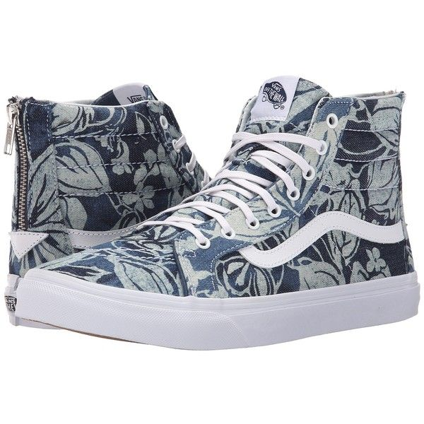 10dcba8d28 Vans SK8-Hi Slim Zip ((Indigo Tropical) Blue True White) Skate Shoes ( 80)  ❤ liked on Polyvore featuring shoes