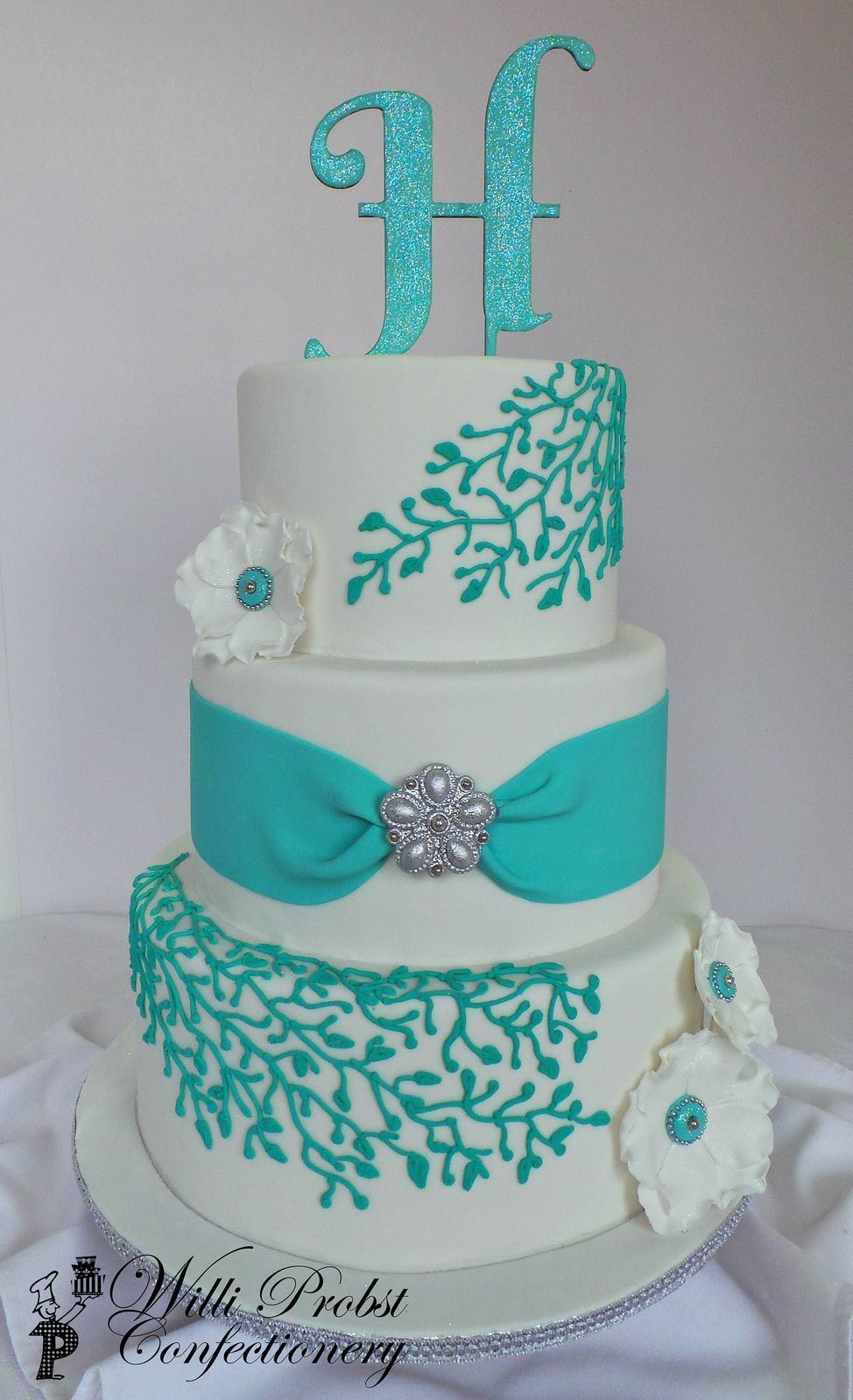 Turquoise Silver Three Tier Wedding Cake