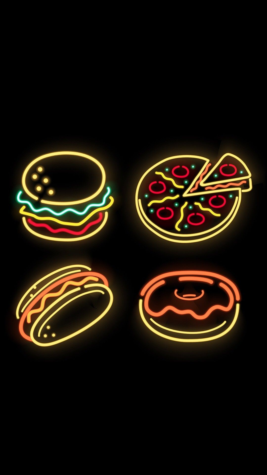 1080x1920 food wallpapers♡ in 2019 neon wallpaper, iphone