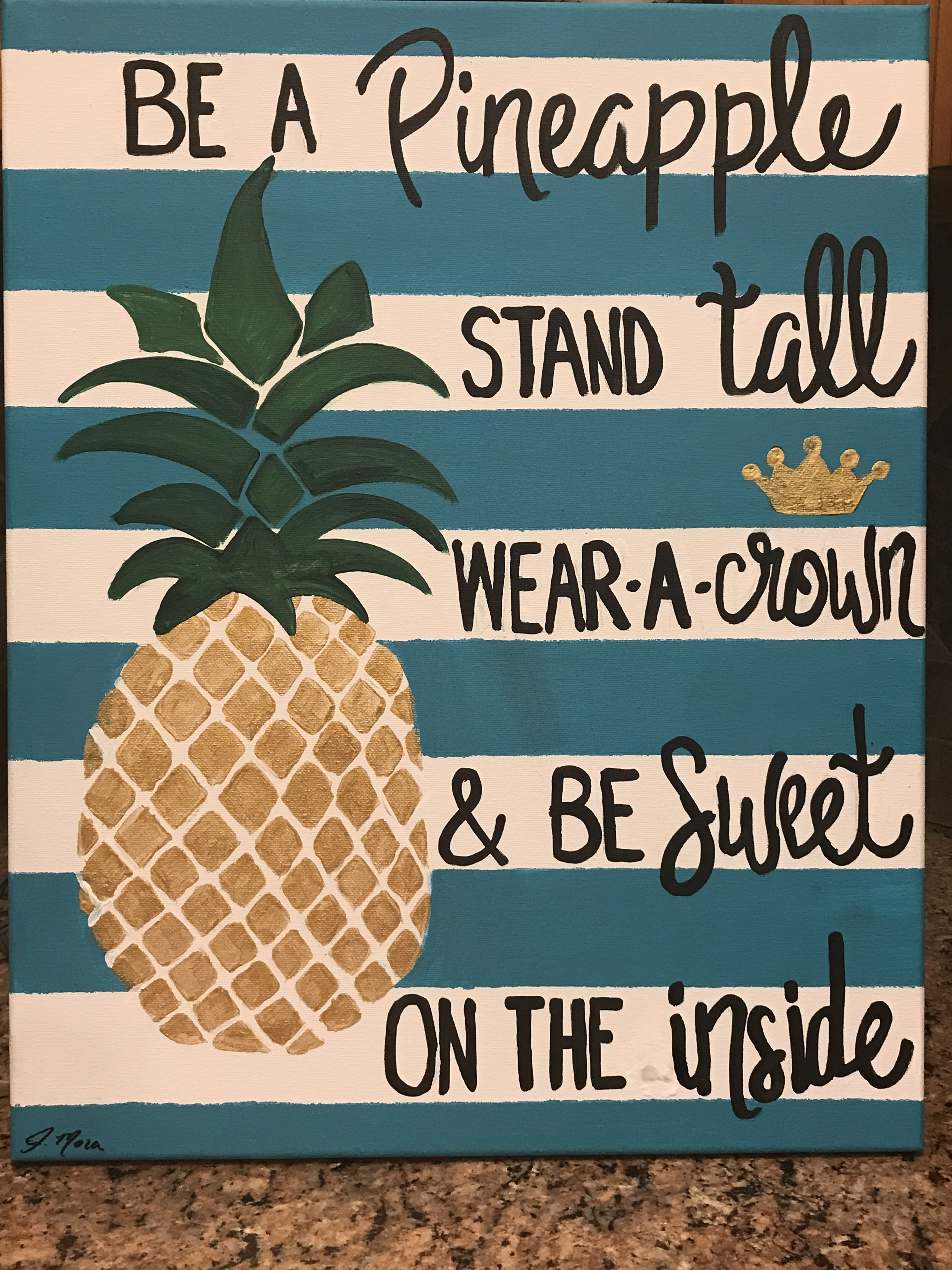 Be a pineapple quote acrylic painting on canvas teal