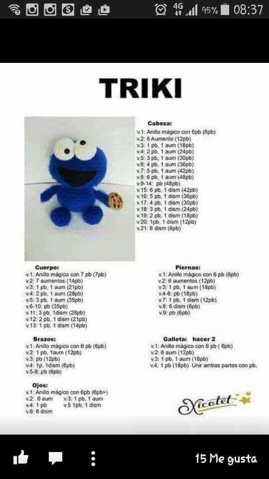 Monstruo de las galletas | Proyectos que debo intentar | Pinterest ...