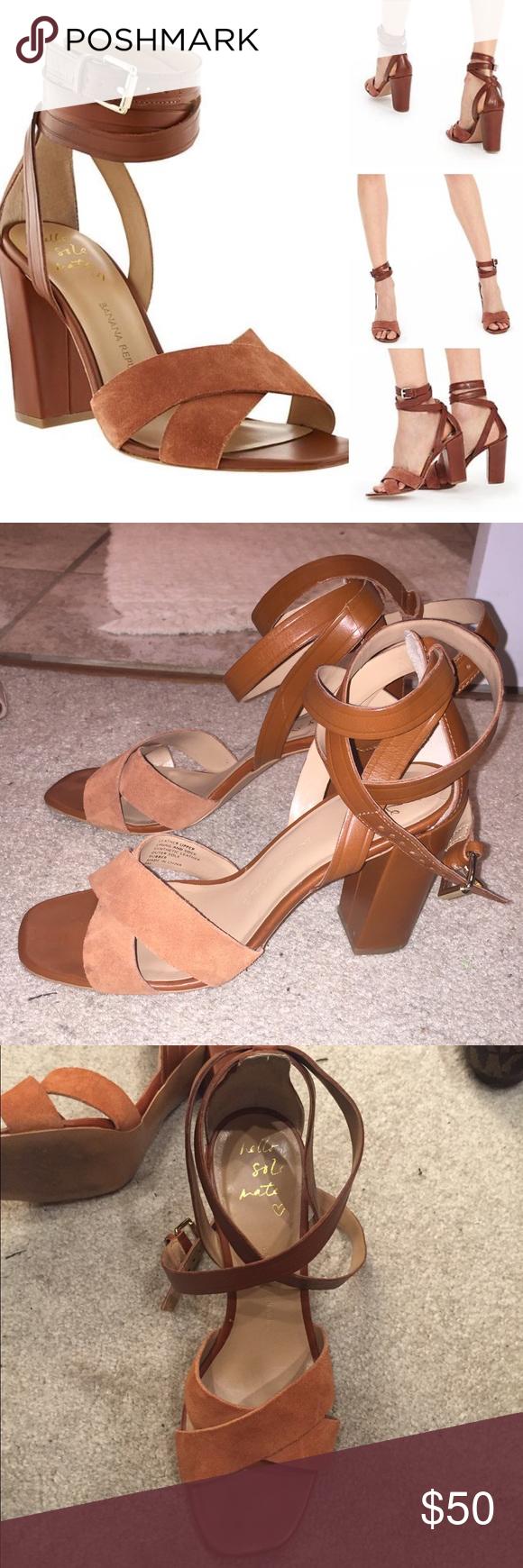 d0f77ec27f4 Banana Republic camel ankle wrap Pella heels. Chicago StoreHeeled  SandalsShoes ...