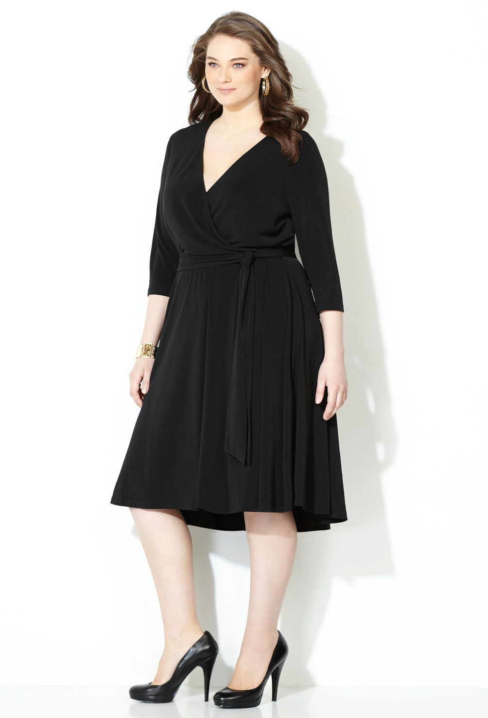 Hi Lo Wrap Dress-Plus Size Dress-Avenue