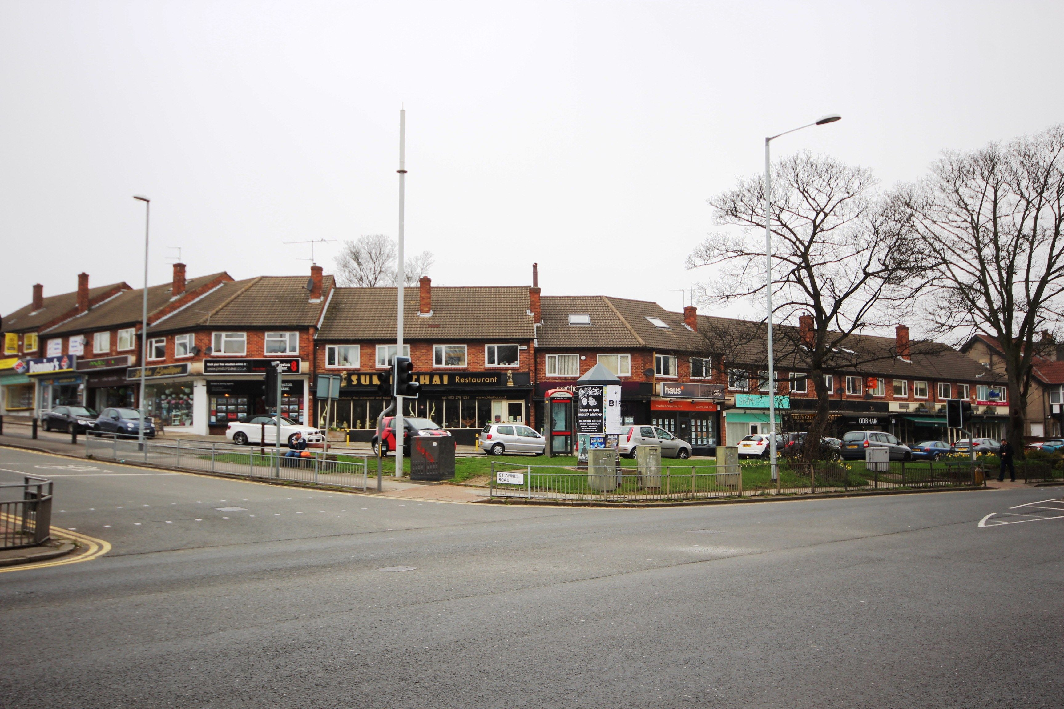 The parade of shops on St Annes Road and Otley Road.