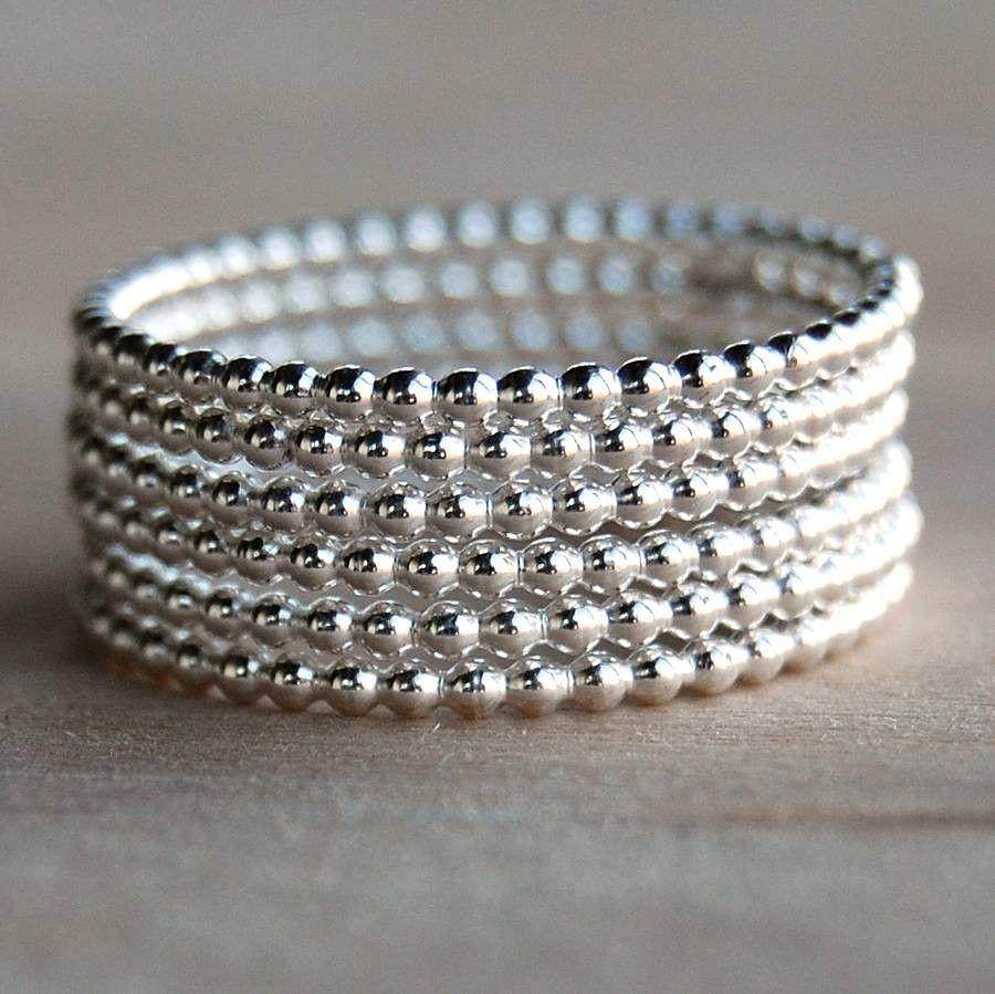c13a9282daa734 Three Beaded Silver Stacker Rings | my board | Silver Rings ...