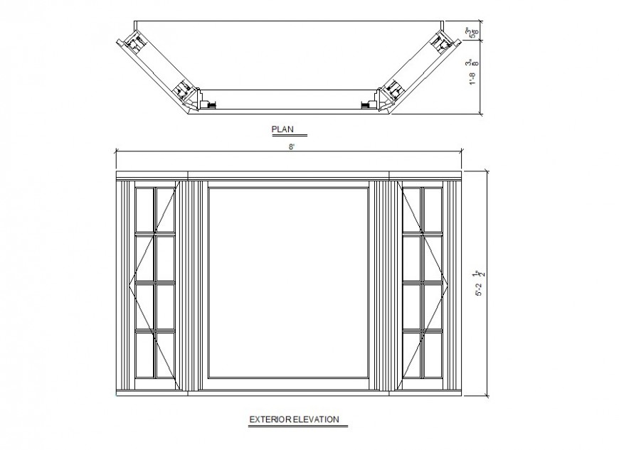 Window Block Detail Elevation And Plan 2d View Layout File In Autocad Format Window Blocks Window Detail Detailed Plans