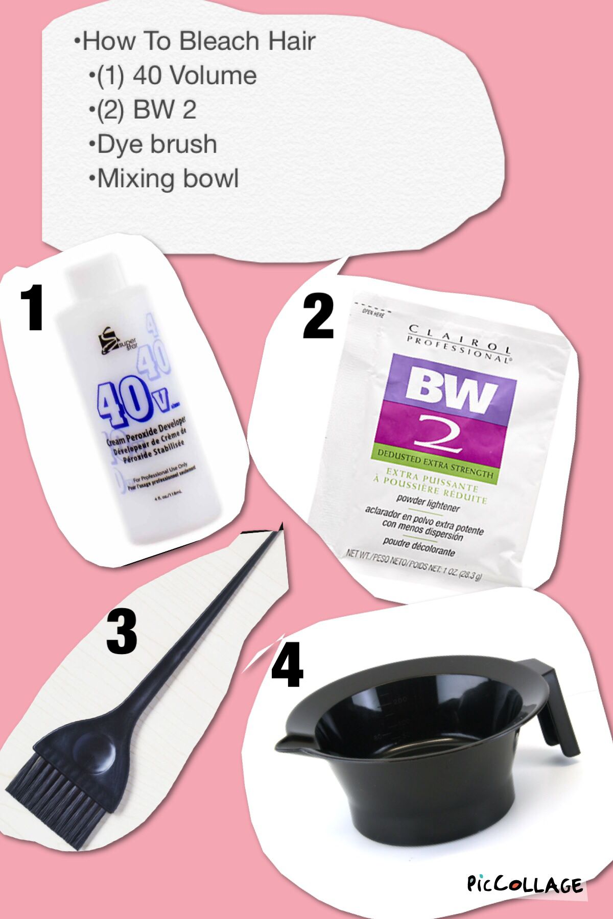 How To Bleach Hair 1 Bottle Of 40 Volume 2 Packs Of Bw 2 Powder