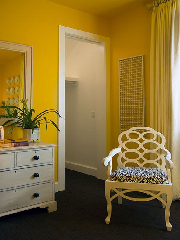 This bedroom painted in a wonderful Daffodil