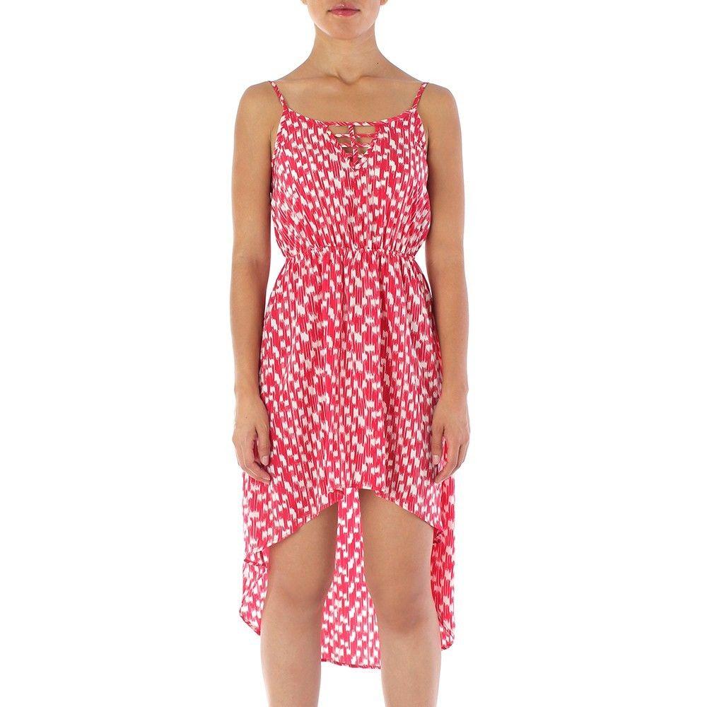 Vestido vermelho estampado estilo mullet com elástico na cintura e decote de tiras cruzadas - Soprano