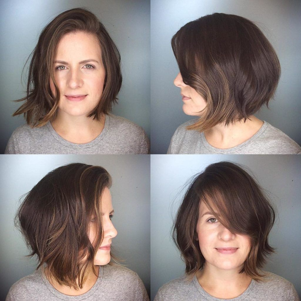 Messy Brunette Textured Bob With Side Swept Bangs And Soft Highlights The Latest Hairstyles For Men And Women 2020 Hairstyleology Brown Hair With Highlights Hair Styles Natural Dark Hair