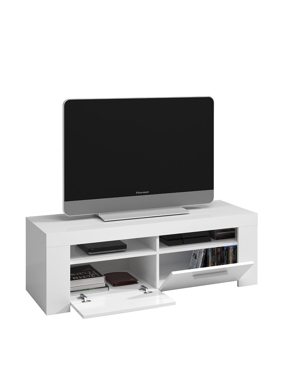 G N Rique Diamentino Meuble Tv 120cm 2 Niches Blanc Amazon Fr  # Meuble Tv Composition Murale Bois Acacia