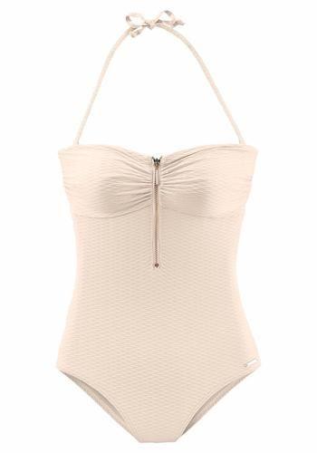 #BRUNO #BANANI #Damen #Bandeau #Badeanzug #creme Mit Reißverschluss vorn. Herausnehmbare Cups. Seitliche Stäbchen für einen guten Halt. Abnehmbare Träger. Hoher Rücken. In modischer Strukturqualität.