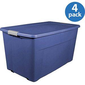 Sterilite 45 Gallon 180 Quart Wheeled Latch Storage Box Set of 4