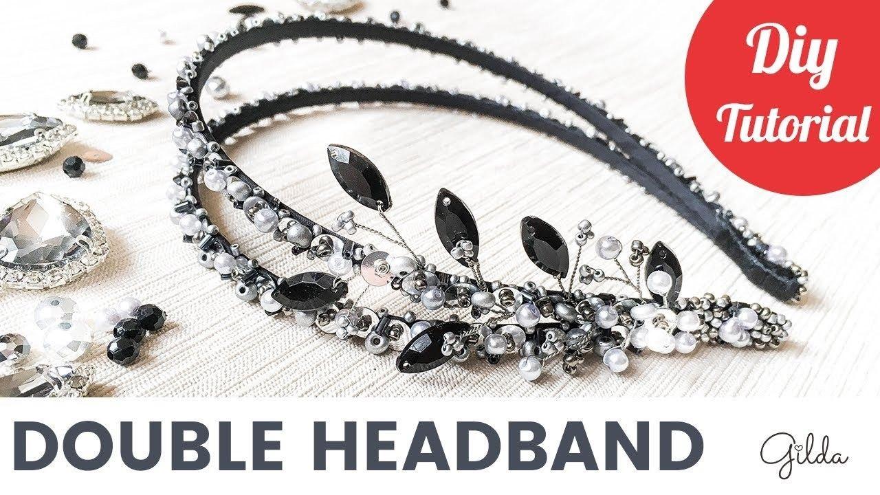 Beaded Bridal Double Hair Headband DIY Tutorial [English Subtitles ...
