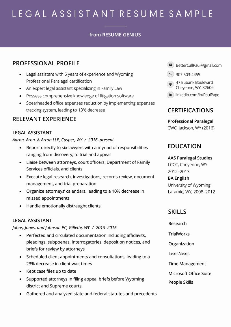 Legal assistant resume examples fresh legal assistant