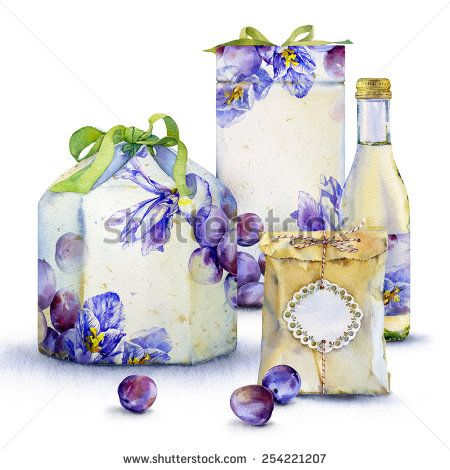 Watercolor Illustration Of Gift Box With Plums And Blue Flowers