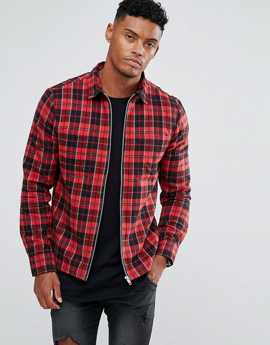 Religion Shirt With Zip Through In Check - Red: Jacket by Religion, Woven  cotton, Point collar, Zip through front, Regular fit ...