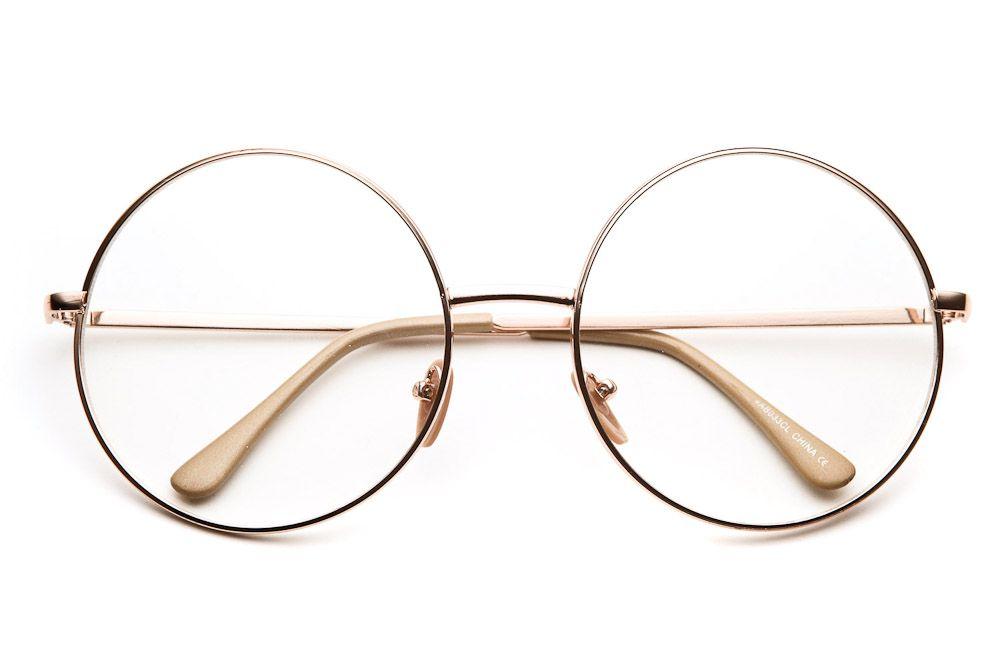 80\'s - Noir Zero Round Clear Lens Oversized Sunglasses - 100% UV ...