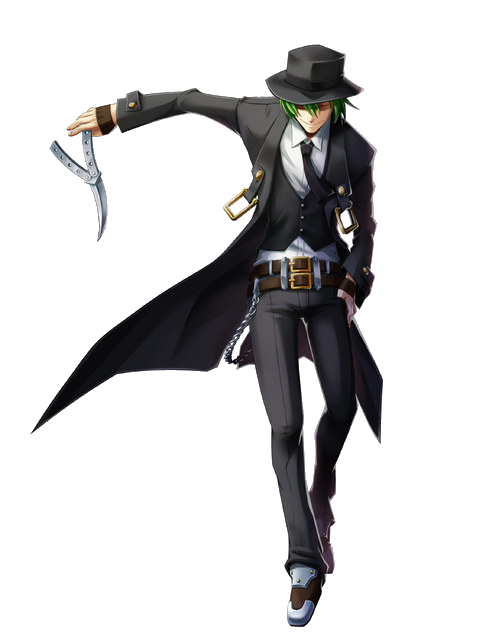 Hazama (ハザマ), also known by his extended codename Hazama Honoka (ハザマ=ホノカ),[2] is a former captain of the World Void Information Controlling Organization's Intelligence Department. In reality, he was an artificially created human designed to be originally the host vessel for Yūki Terumi. He originally appeared as a non-playable character in the Story Mode of BlazBlue: Calamity Trigger, but starting with BlazBlue: Continuum Shift, he became a playable character.