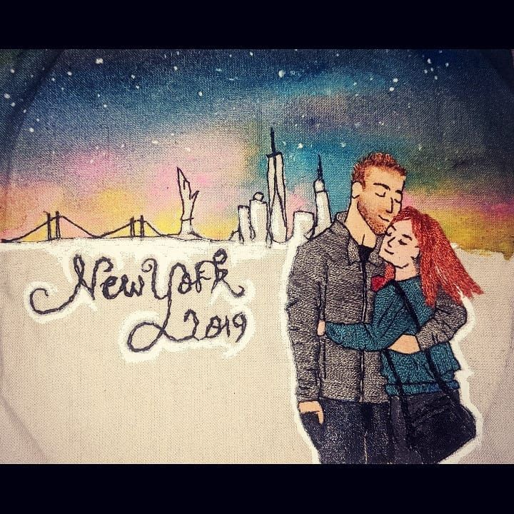 New York, New York I want to wake up in that city That never sleeps 🗽🌃🌛🌠 #hairembroidery #nyc #galaxypainting #couplegoals