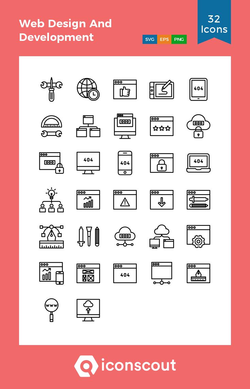 Web Design And Development Icon Pack 32 Line Icons Web Development Design Web Design Icon