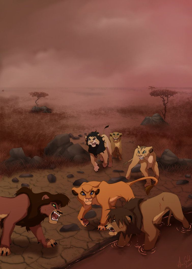 Scar has been ruling over the pridelands for few years now herds of animals left his kingdom and only lionesses stayed alongside with hyenas
