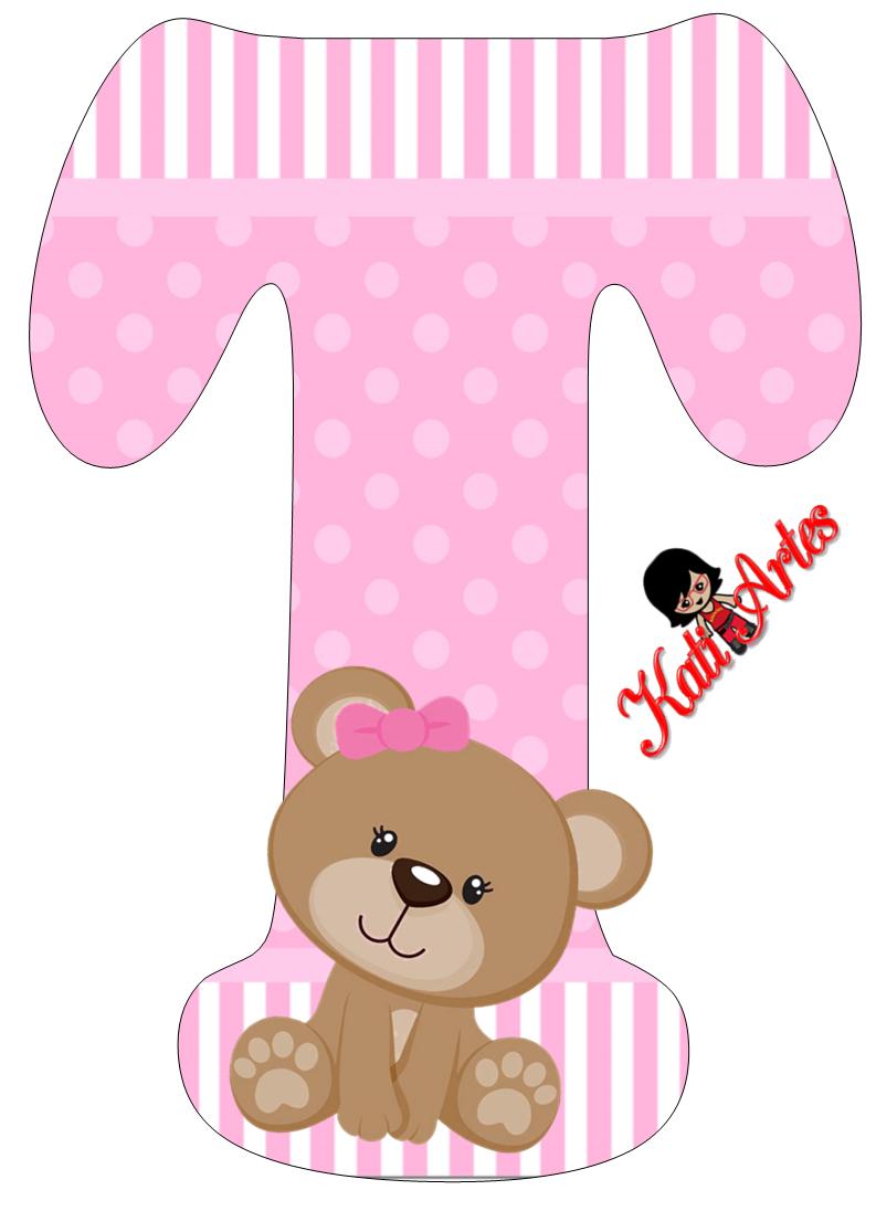 Alfabeto de tierna osita con fondo rosa. | Oh my Alfabetos! | osita ...